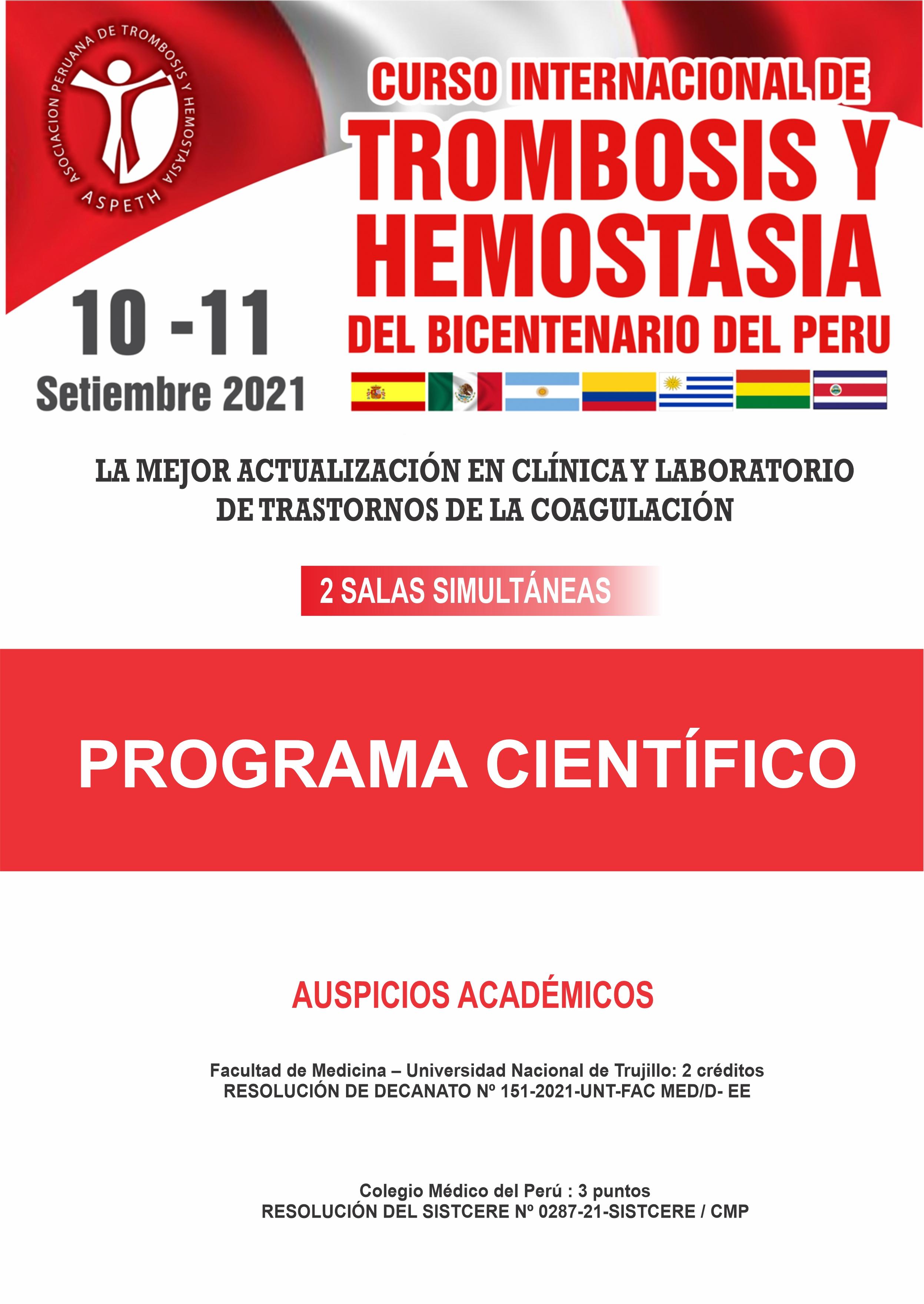Programa Científico Curso Internacional de trombosis y Hemostasia